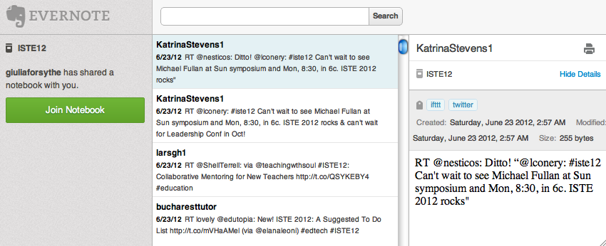 Shared Evernote notebook capturing #ISTE12 tweets
